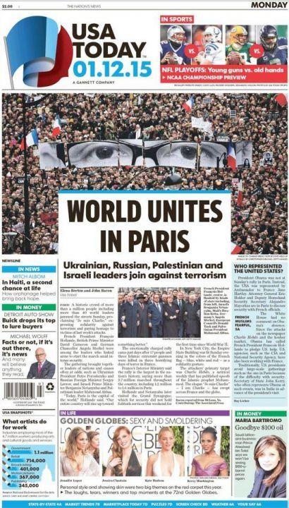 EN IMAGES. «Magnifique !» : la France fait la Une de la presse mondiale #jesuischarlie #charliehebdo