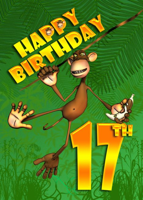 happy 17th birthday monkey banana card  happy 50th