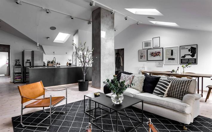 Herunterladen hintergrundbild wohnzimmer, grau modernes interieur ...