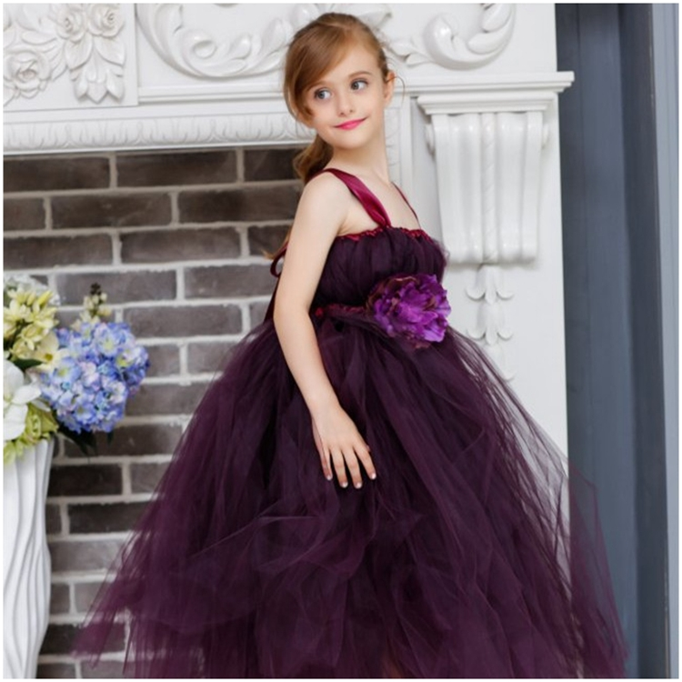 33.88$  Watch here - http://ali629.shopchina.info/1/go.php?t=32542905174 - Girl Flower Tutu Dress Deep purple children's wedding dress girl classmates birthday party party dress custom hand long dress. 33.88$ #magazineonline