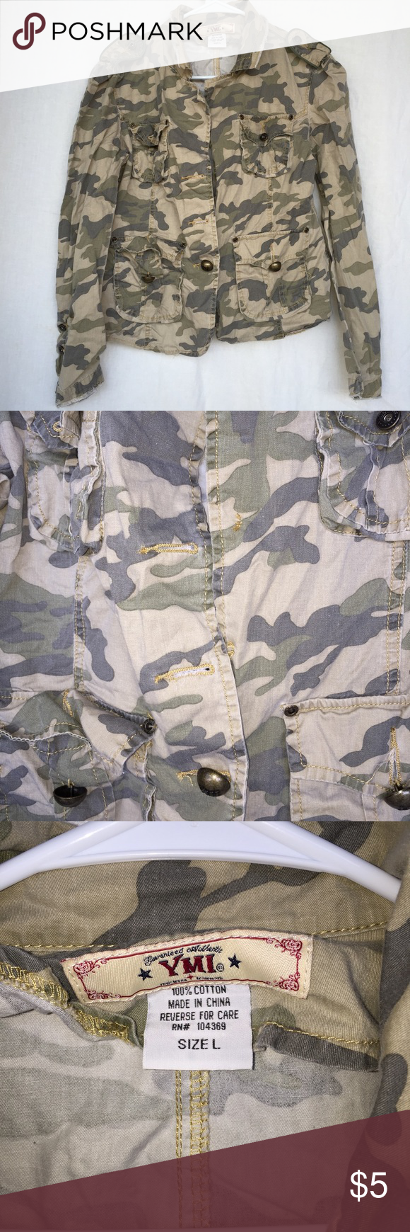 YMI Camo Jacket Missing 2 buttons on front YMI Jackets & Coats