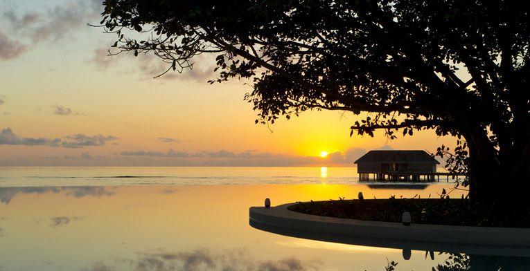 Espectacular atardecer en Baa Atoll, #Maldivas