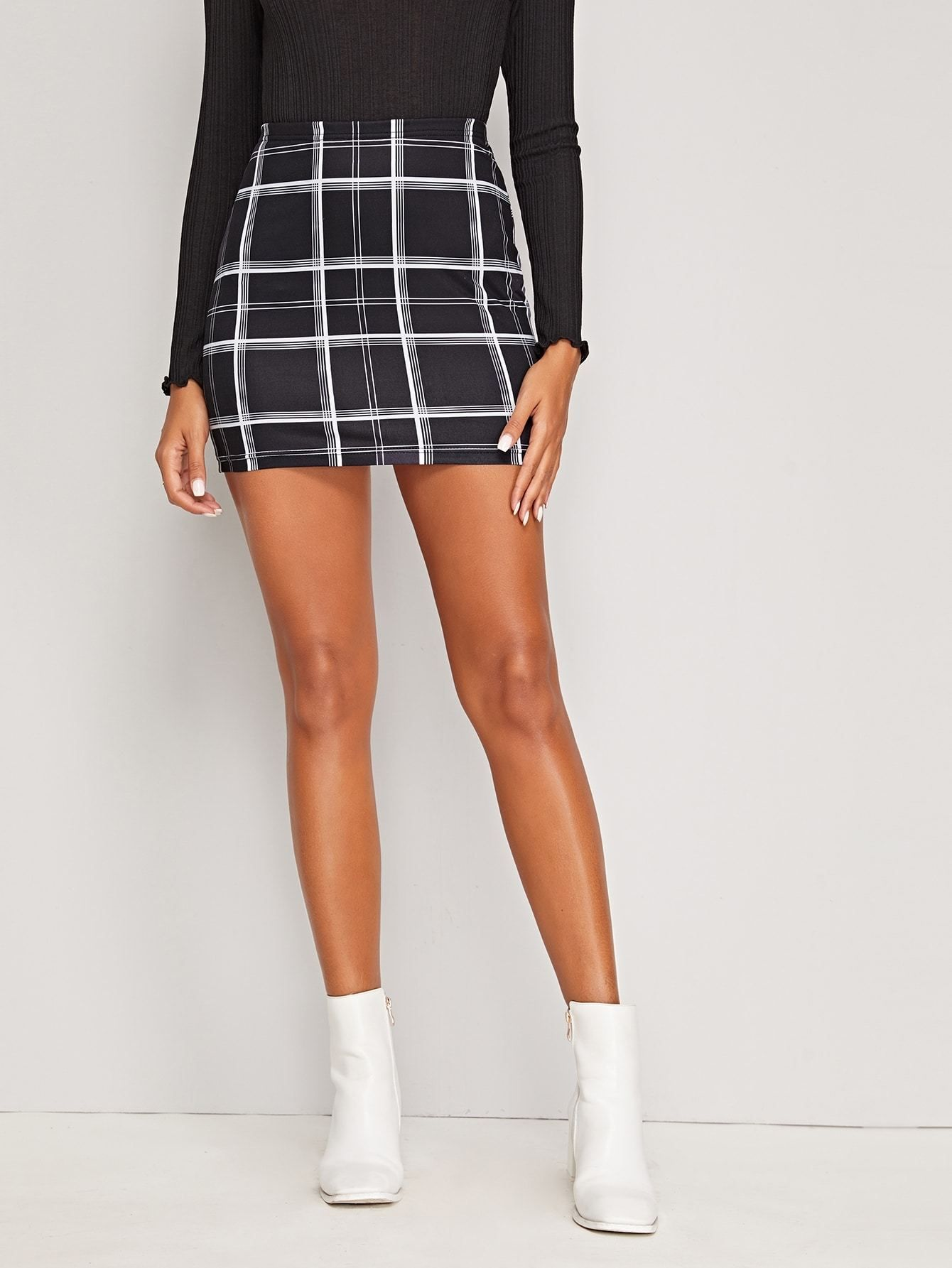 Mini Table A Langer black and white high waist plaid print bodycon mini skirt in