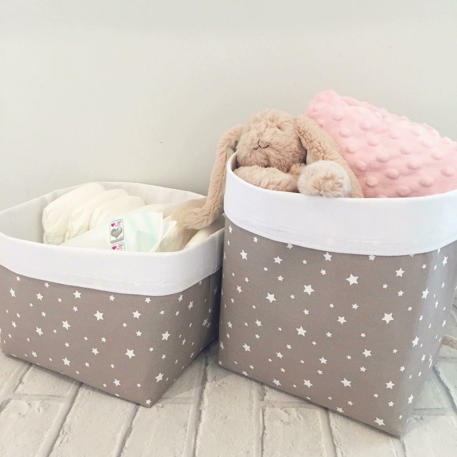 Taupe Stars Storage Baskets Now Available Also In Navy Grey And Mustard Perfect For Nies Wipes