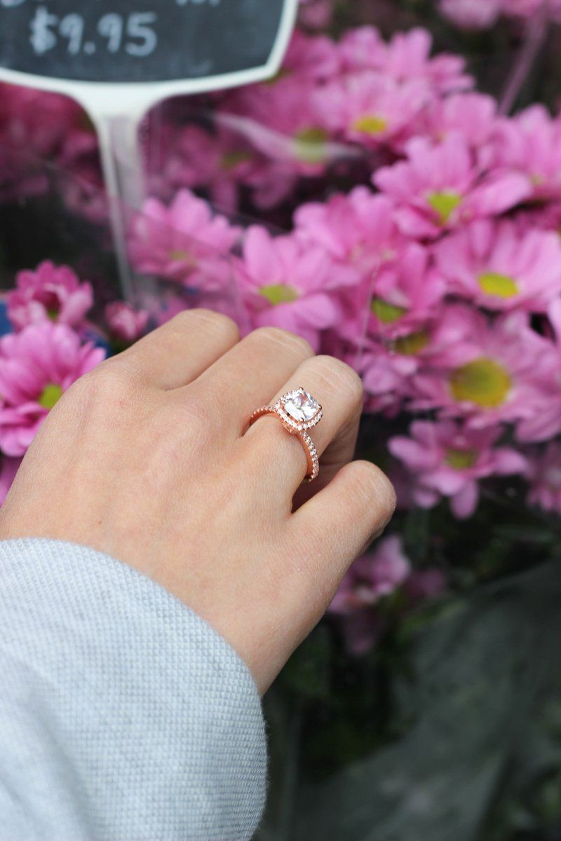 Cushion Cut Rose Gold 925 Sterling Silver Engagement Ring | Cushion ...