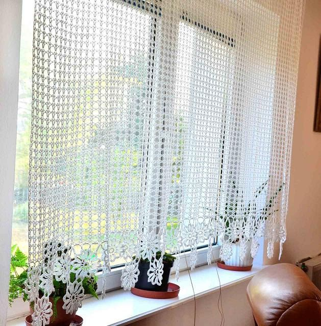 Curtain Crocheted Crochet By Katescrochetwork