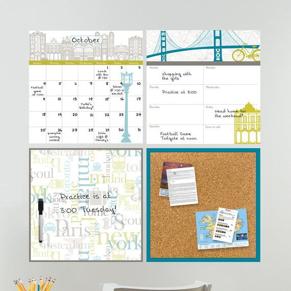 Dry Erase Calendar, Weekly Planner, Message Board And