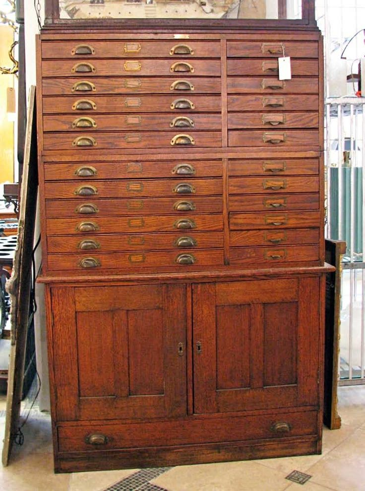 Superbe Antique Map Cabinet. More Bead Storage.
