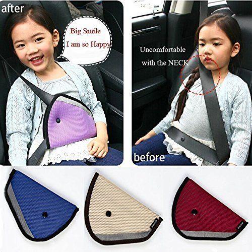 Seat belt adjusters,Konsait Safety Belt Covers For Kids,Seat Belt Positioner (Red)