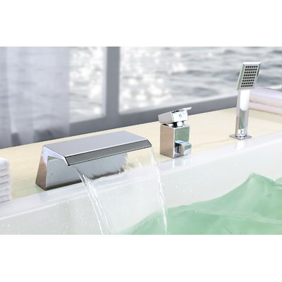 Triple Handle Deck Mounted Roman Tub Faucet With Diverter And Handshower Bathtub Faucet Tub Faucet Waterfall Tub Faucet