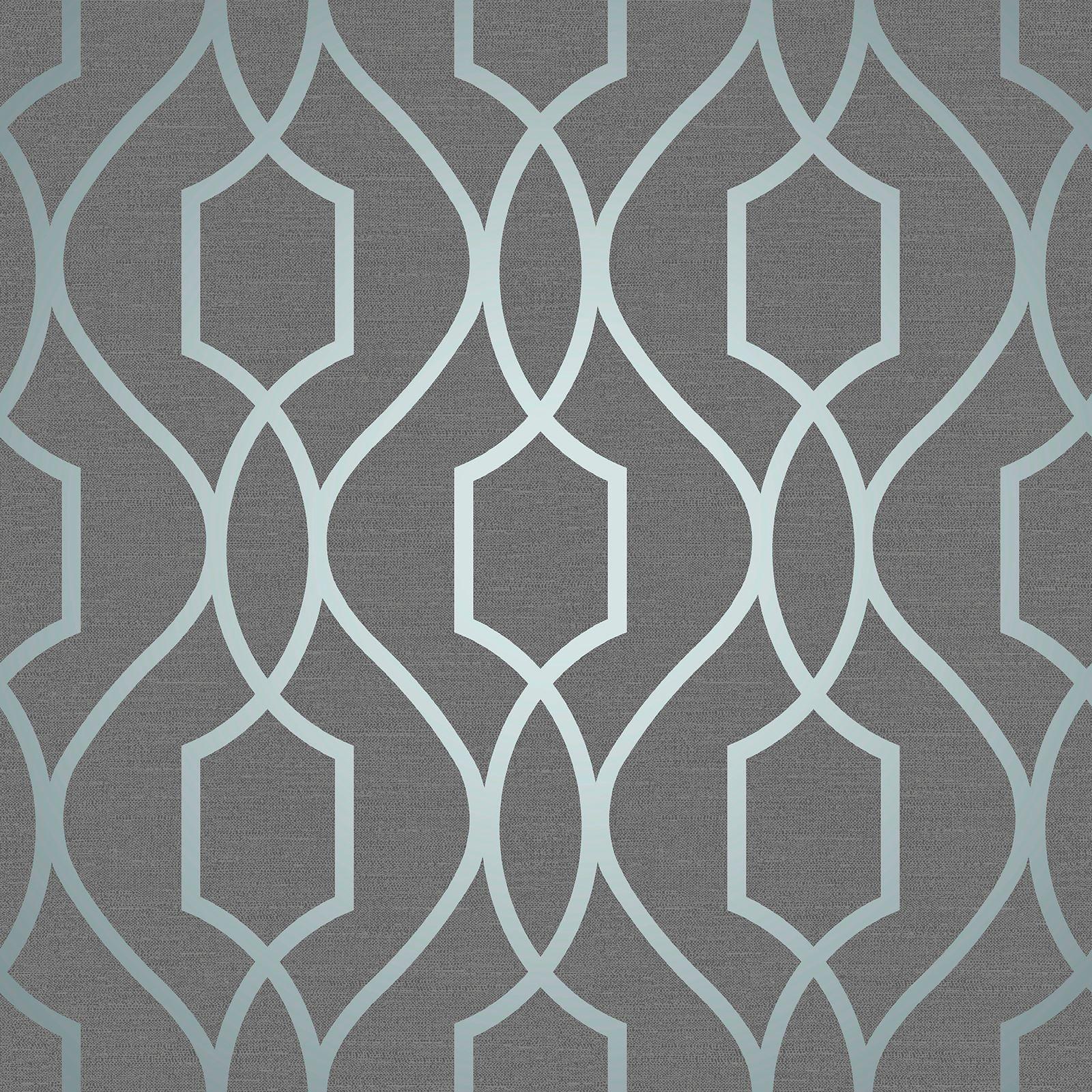Apex Geometric Trellis Slate Grey Metallic Blue Wallpaper Fine Decor Fd41996