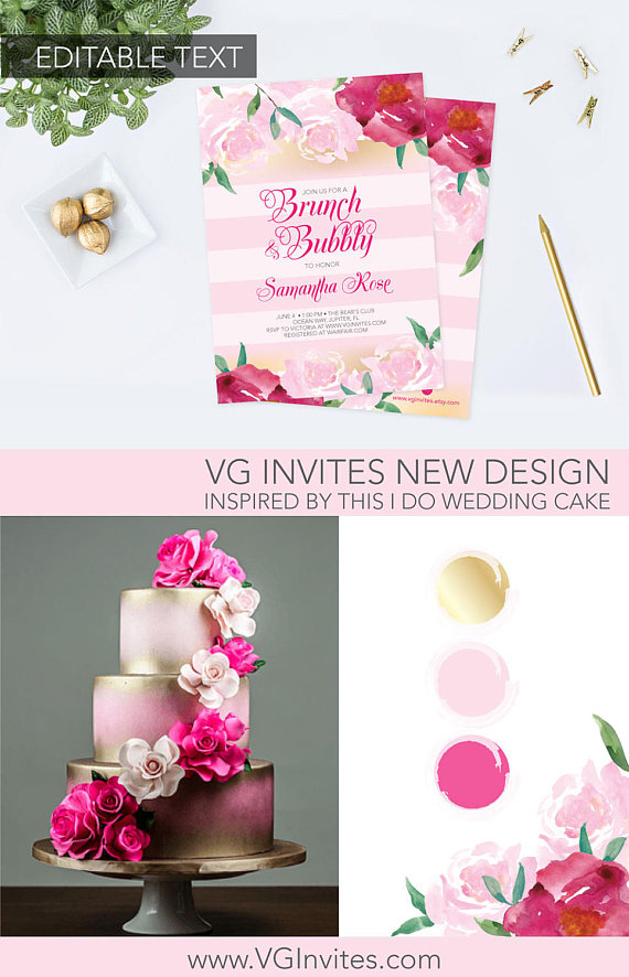 Brunch and Bubbly Bridal Shower Invite, Editable Text Acrobat Reader - invitation template online