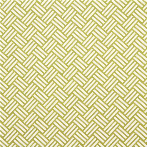 green tatami stripes cotton sateen fabric Michael Miller 2