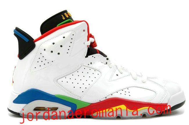Air Jordan 6(VI) Retro-Olympic Flag (Blanc/Varsity Red Rouge