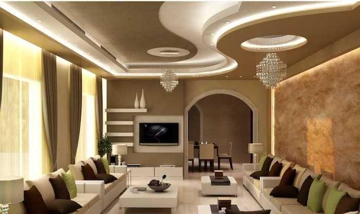 Perfekt Dekoideen Wohnzimmer, Zwei Kleine Kronleuchter, Abgehängte Decke Mit Led  Beleuchtung