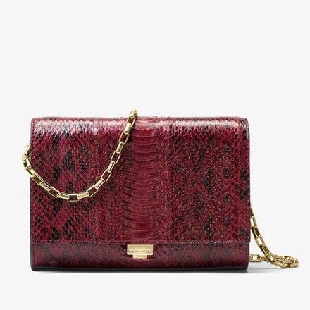 200d51ef3925 Michael Kors Collection Yasmeen Snakeskin Merlot Leather Clutch - Tradesy