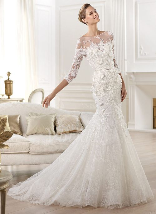 Wedding Dresses - $239.99 - Trumpet/Mermaid Scoop Neck Chapel Train Tulle Lace Wedding Dress With Appliques Lace Flower(s) (0025056600)