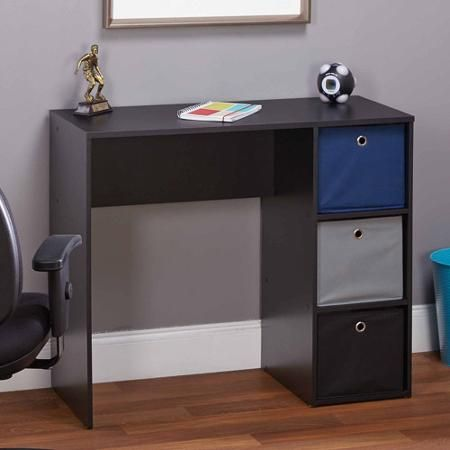 Student Writing Desk with 3 Fabric Bins - Walmart.com - Mainstays Writing Table, Ebony Ash Shelves, Work Stations And
