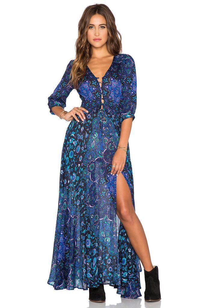 138550904d8d31 Boho Maxi Dress Navy Blue Floral