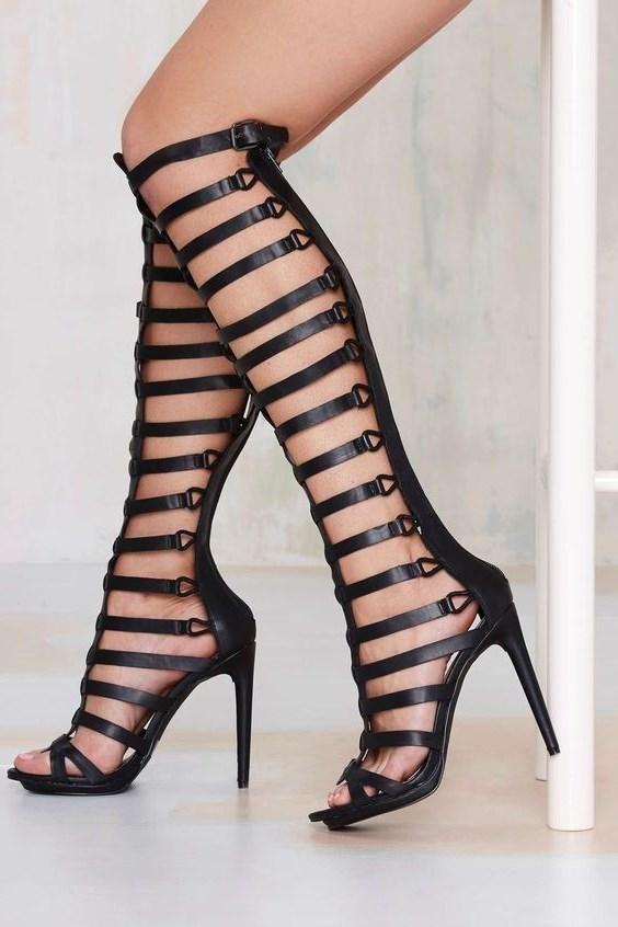 e2e356d7689 Black Lace up Sandals Floral Closed Toe Block Heel Sandals