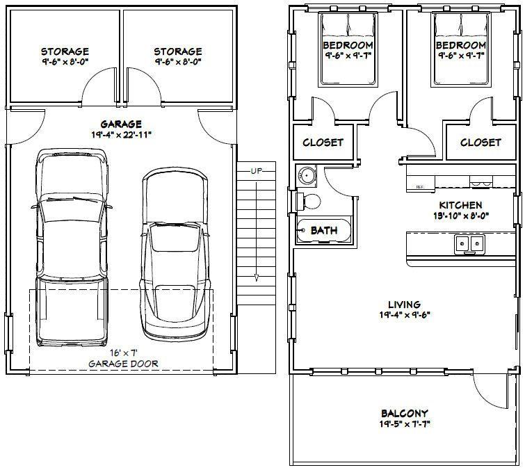 20x32 Tiny House 20x32h7k 808 Sq Ft Excellent Floor Plans Carriage House Plans Garage Apartment Plans Tiny House Floor Plans