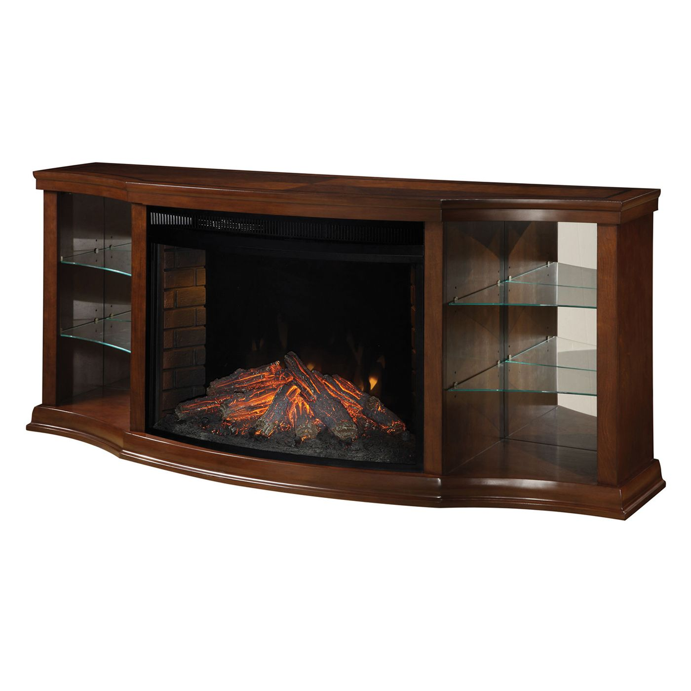 The Muskoka Contessa Media Electric Fireplace features glass