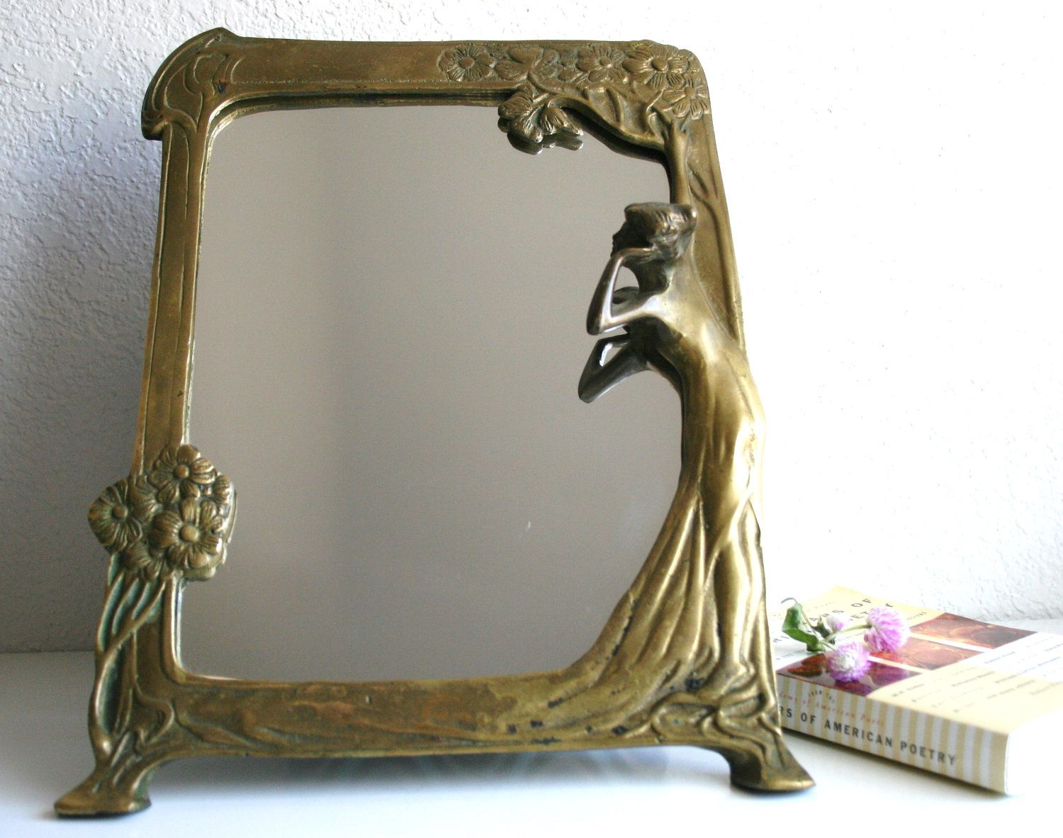 Lovely brass mirror of girl looking into mirror with for Miroir art nouveau
