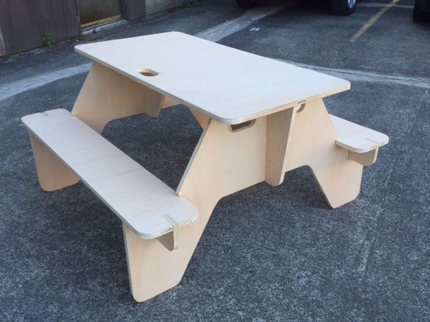 Flat Pack Picnic Table From 1 Sheet Of Plywood Picnic Table Decor Picnic Table Plywood Sheets