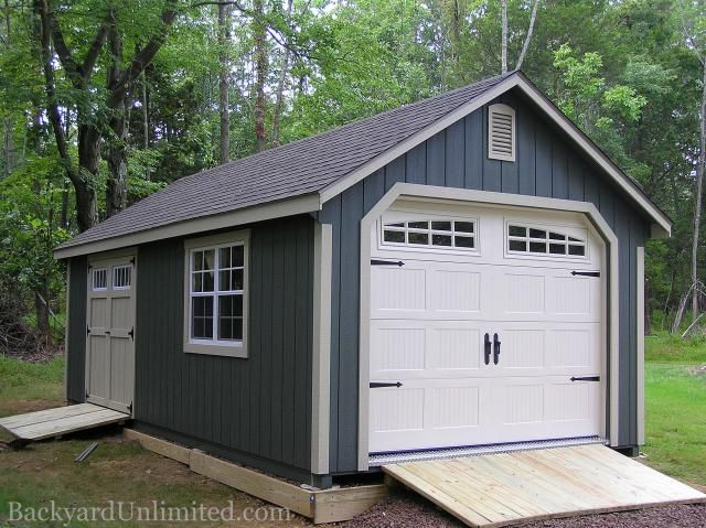12 X20 Garden Shed Garage With Transom Double Doors Gable Vents Ramps And Heritage Garage Door Building A Shed Backyard Sheds Shed Plans