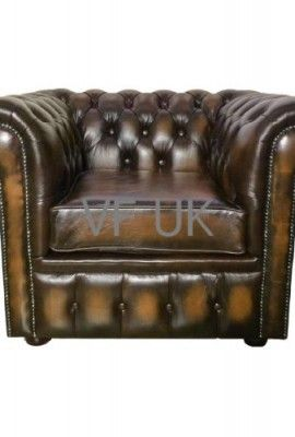 Chesterfield Genuine Leather Antique Oxblood Red Club Chair   Too Big