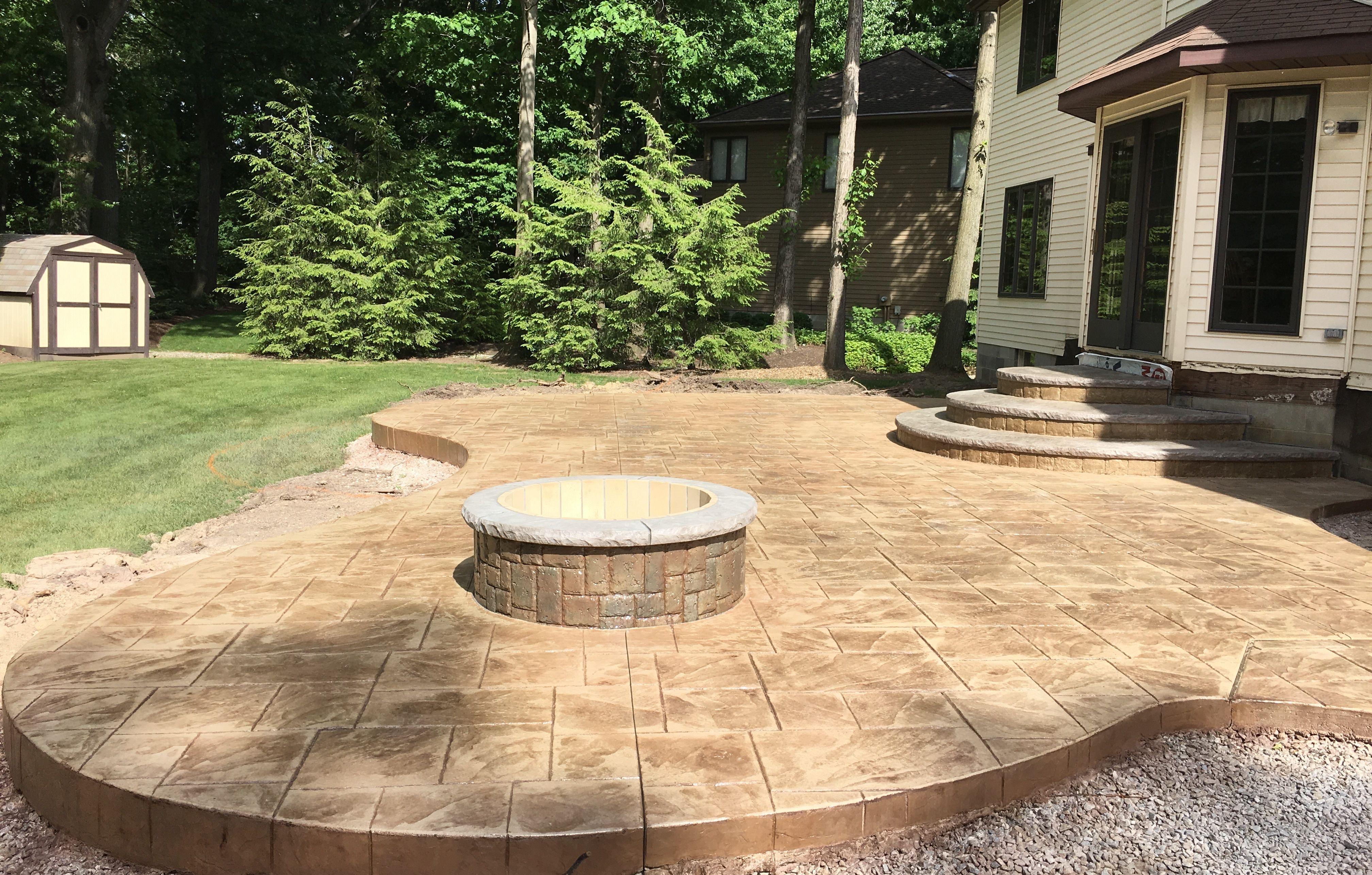 Large Ashlar Slate stamped patio, custom designed landing/steps ...