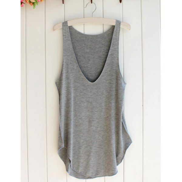 $7.64 Simple Style Plunging Neck Sleeveless Solid Color Modal Women's Tank Top