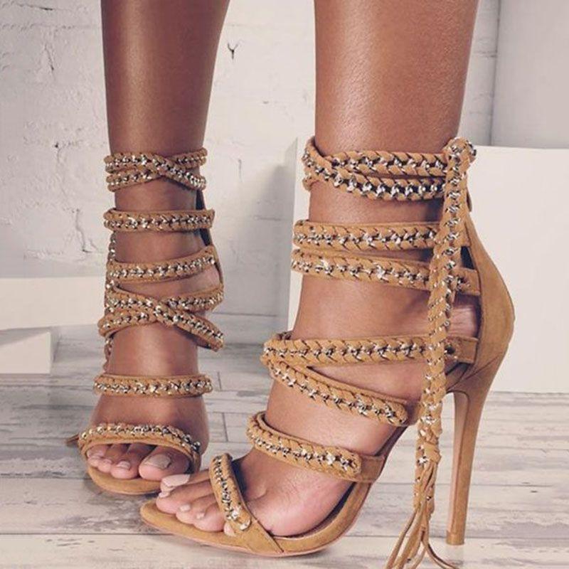 Shoespie Chain Tel Open Toe Dress Sandals