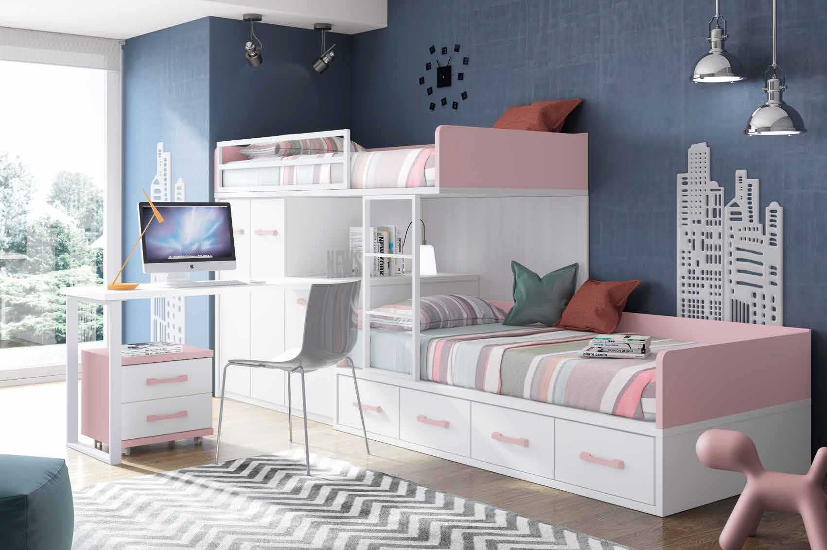 Lit superposé fille avec bureau et rangement - GLICERIO  Κρεβάτια