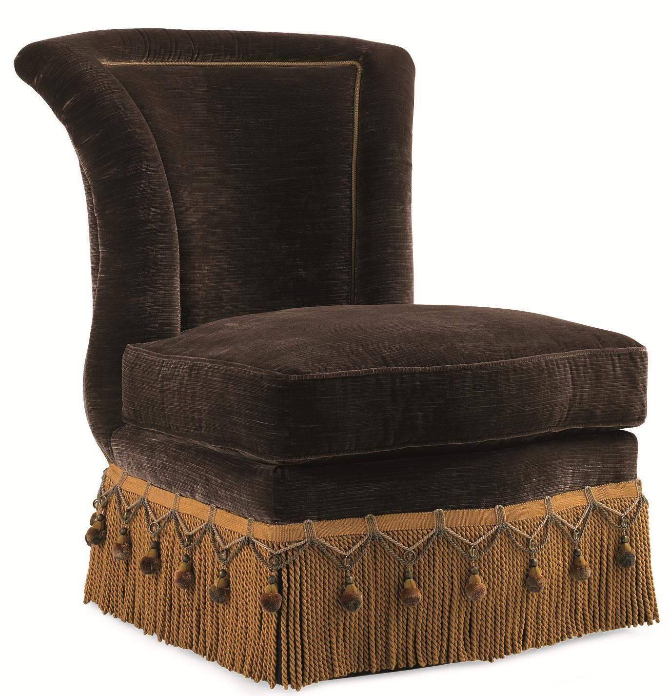 Schnadig Evelyn Armless Slipper Chair With Crystal Bead