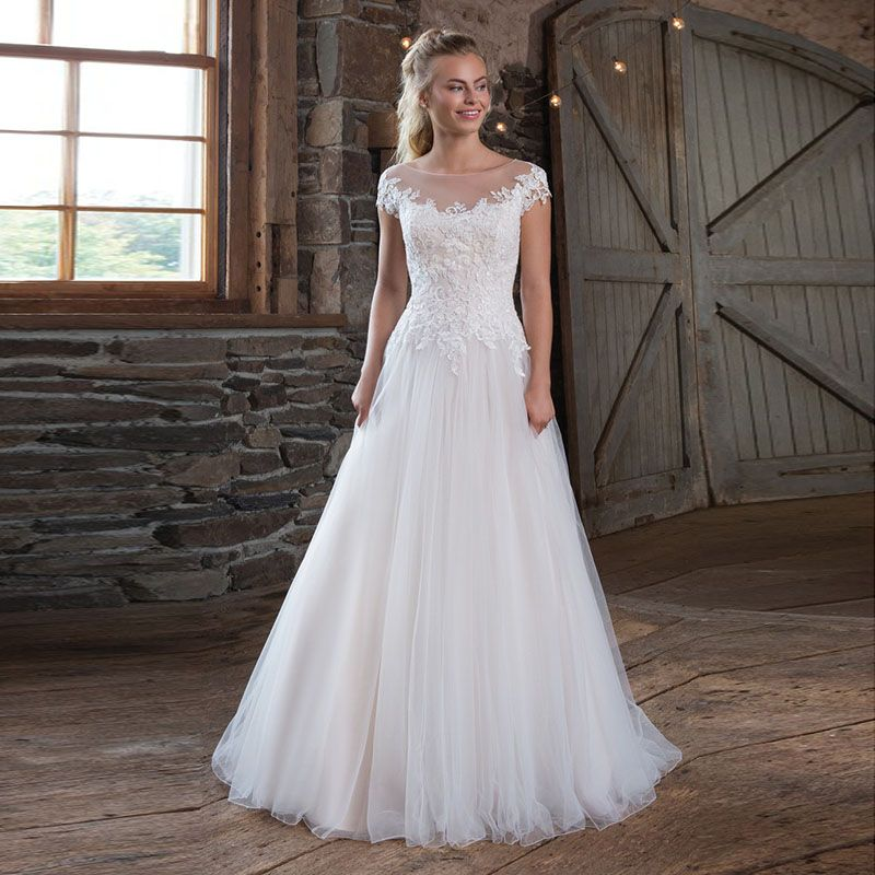Eightale Vintage Wedding Dress 2019 Lace Appliques O-Neck A-Line vestidos de noiva Cap Sleeves Tulle Bridal Dress Wedding Gowns