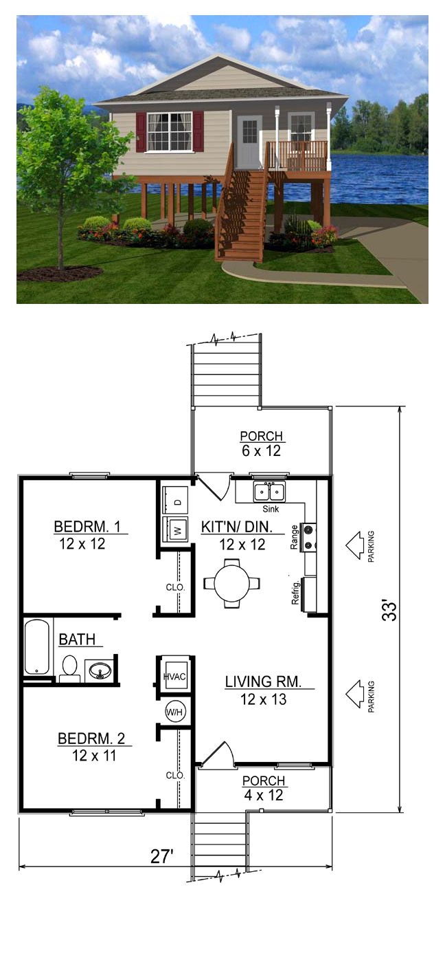Coastal House Plan 96701 | Total Living Area: 736 sq. ft., (81.78m2) 2 bedrooms & 1 bathroom. #houseplans #coastalplan #smallhouseplans