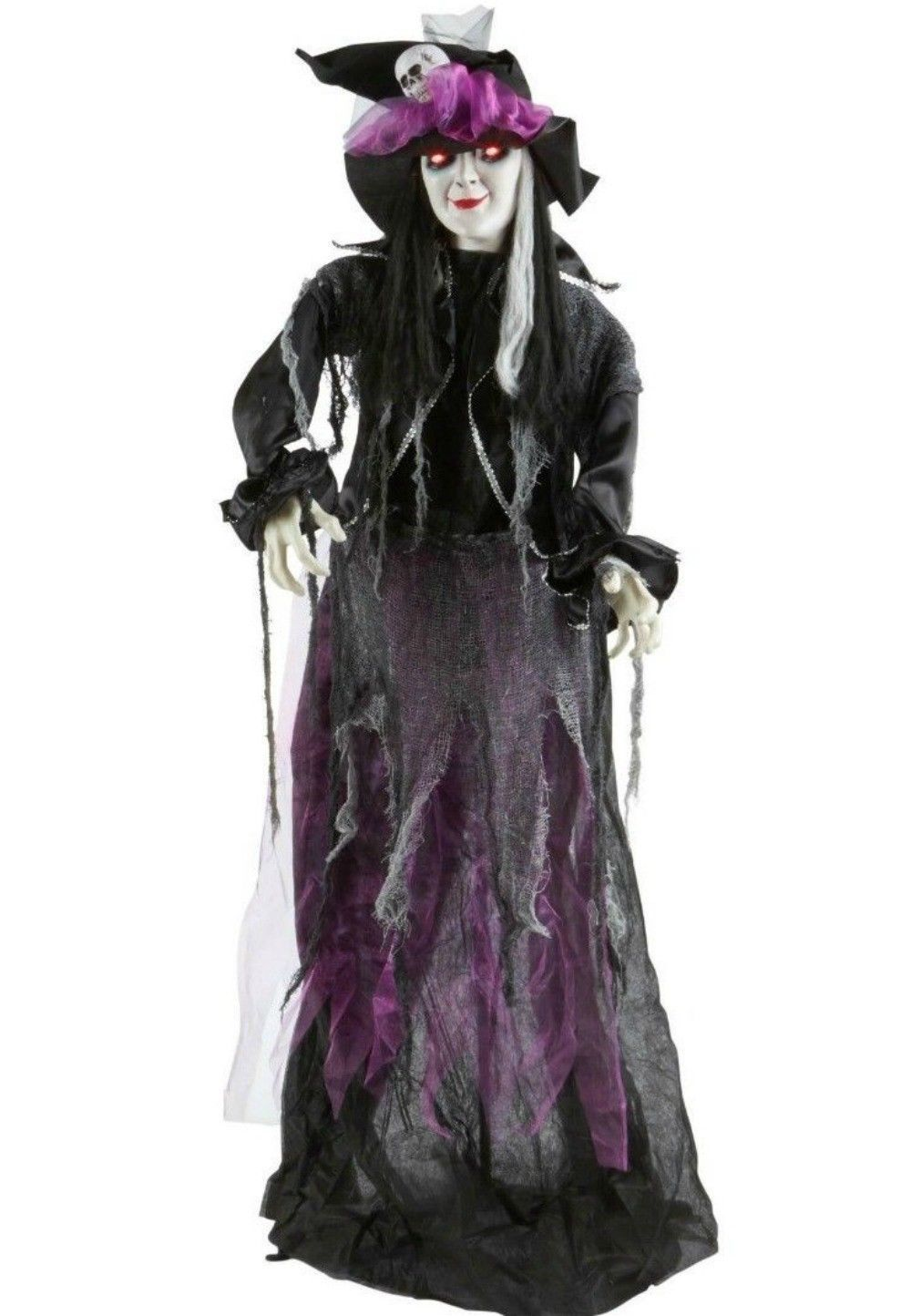 5' esmerelda halloween animated witch prop light up eyes and sounds