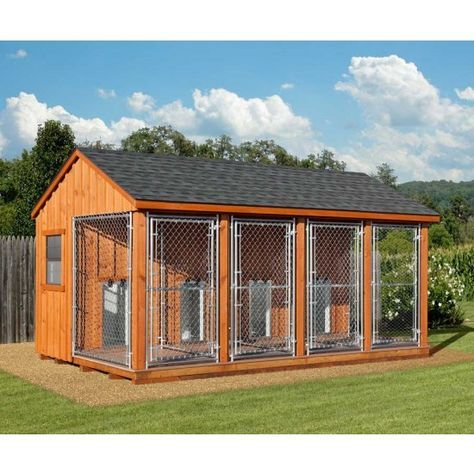 Photo of Fully Assembled 10 x 16 Amish Built 4 Run Dog Kennel