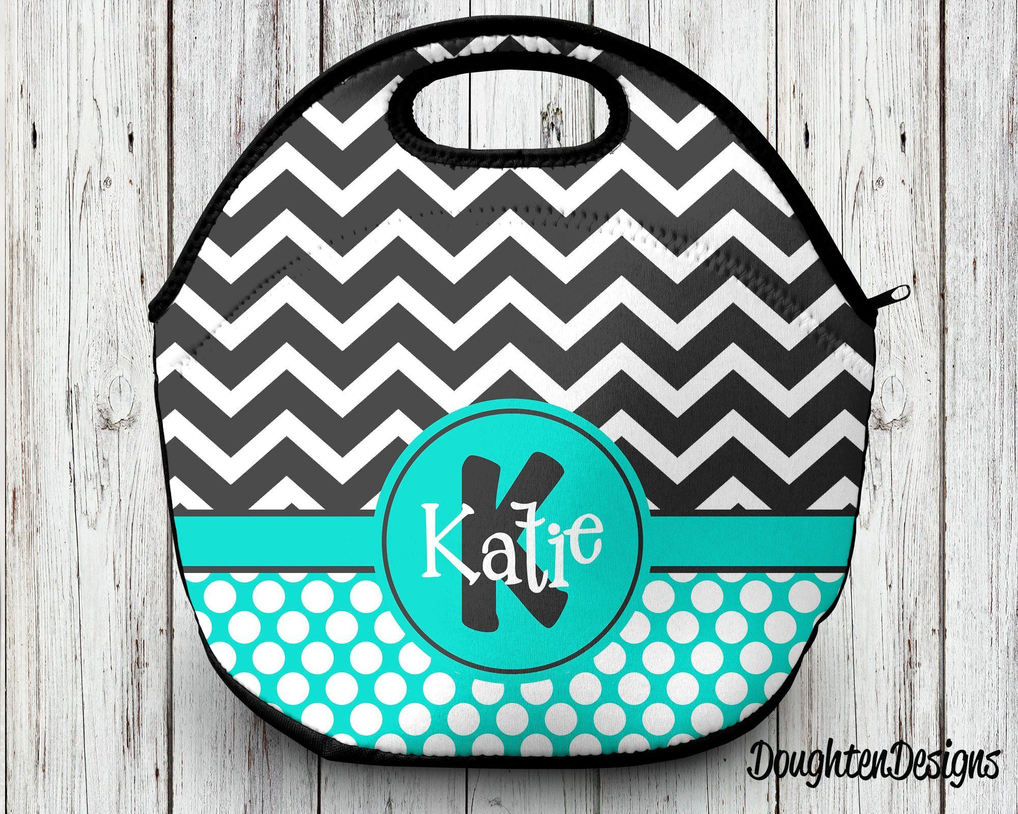 99e27b2ab8e2 Neoprene lunch tote, Personalized lunch bag, Monogram lunch bag ...