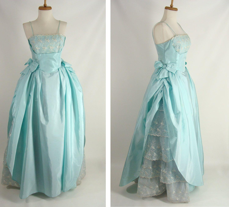 vintage s prom dress pastel blue seafoam green shelf