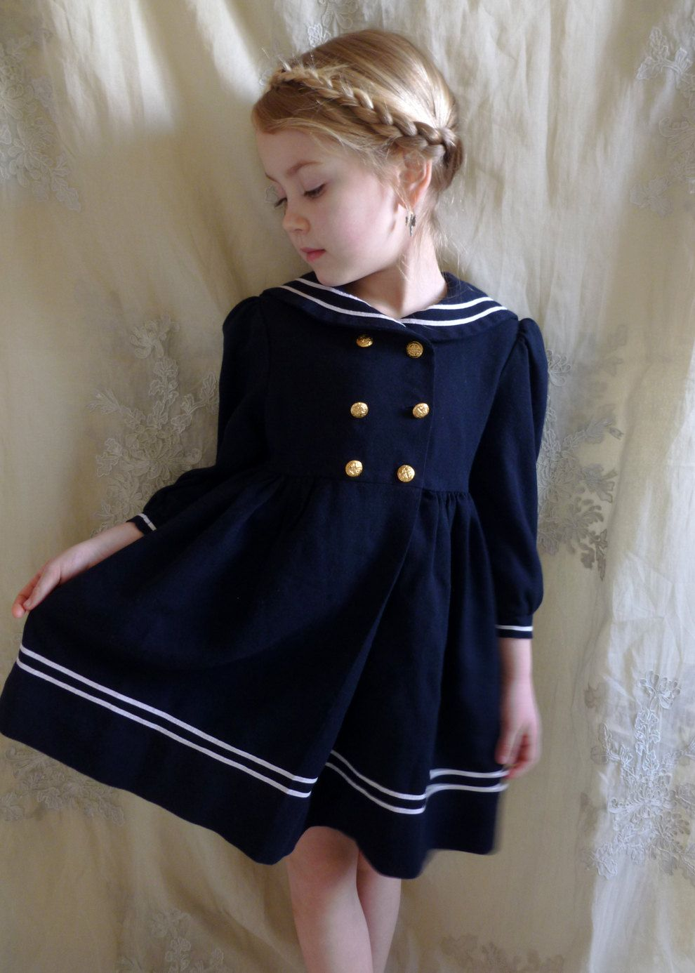 f08aa084f Vintage Little Girls Sailor Dress... Size 3 4... Nautical Victorian ...