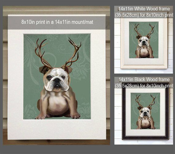 Funny English Bulldog Gift  Dog Antlers  ski lodge decor funny bulldog English  Ski lodge decor