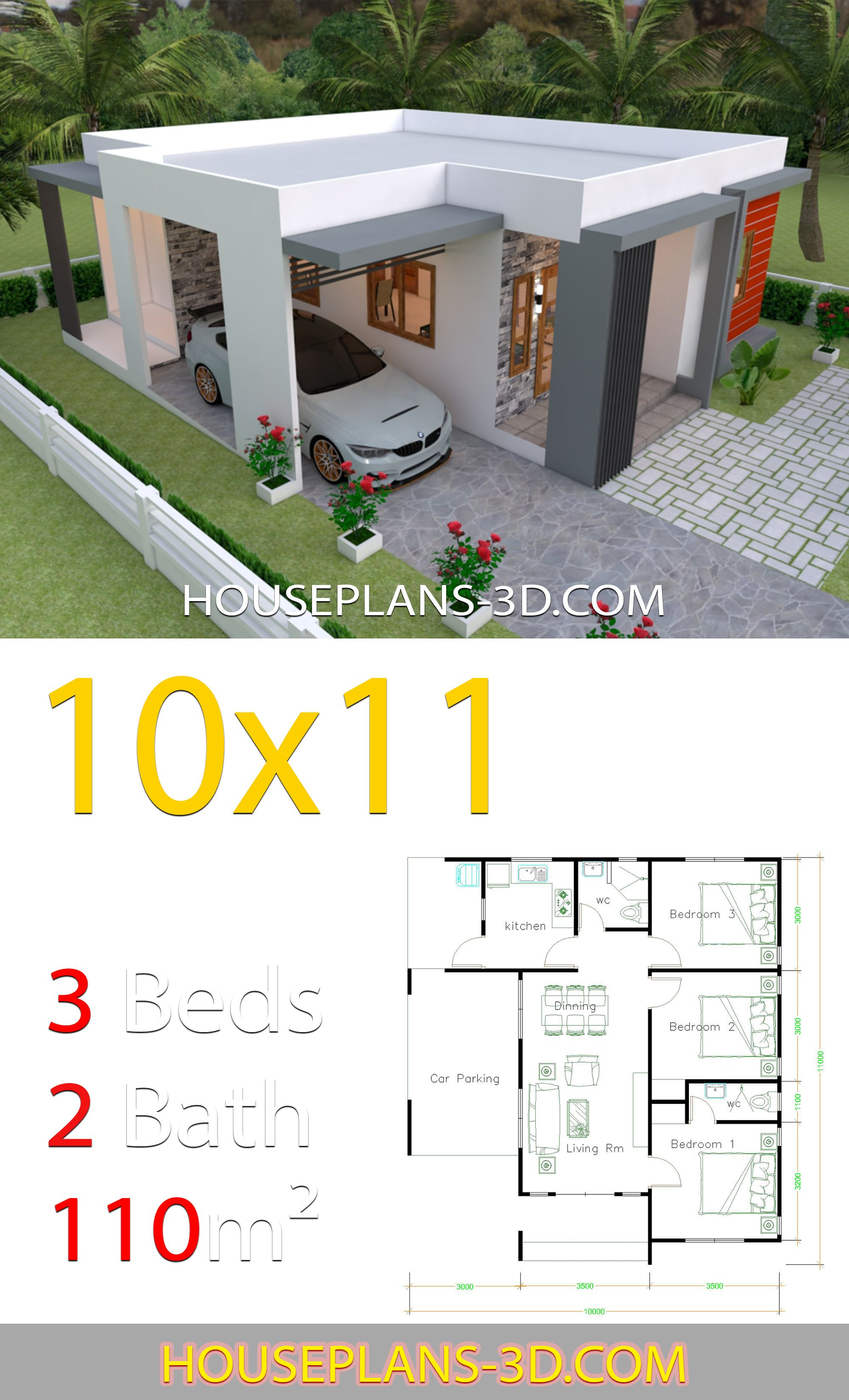 House Design 10x11 With 3 Bedrooms Terrace Roof House Plans 3d In 2020 Affordable House Design Minimalist House Design House Construction Plan