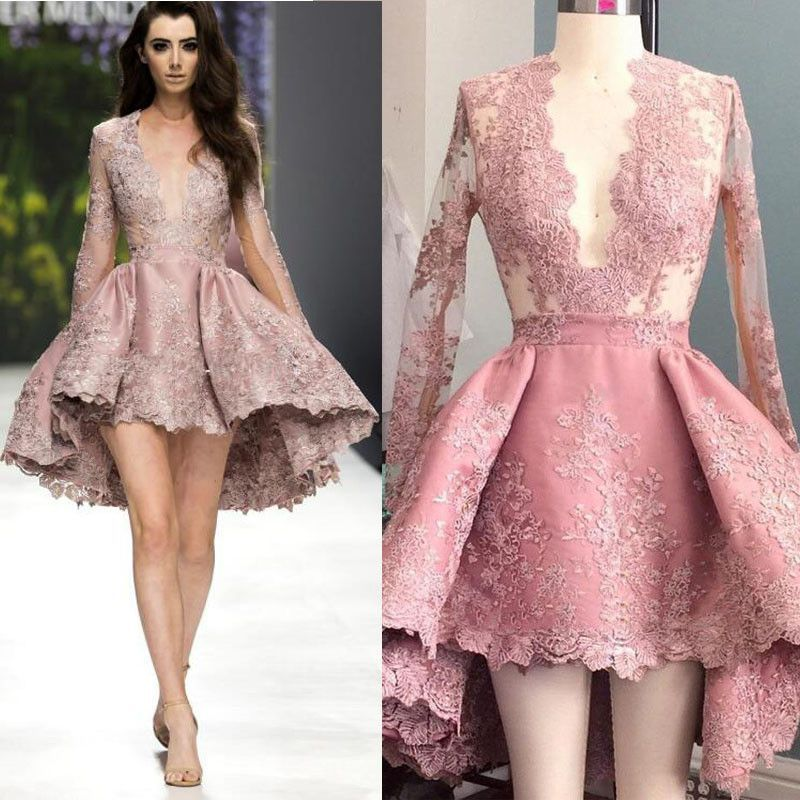 Deep V Neck Lace Long Sleeves Sexy Homecoming Dresses, PM0404 ...