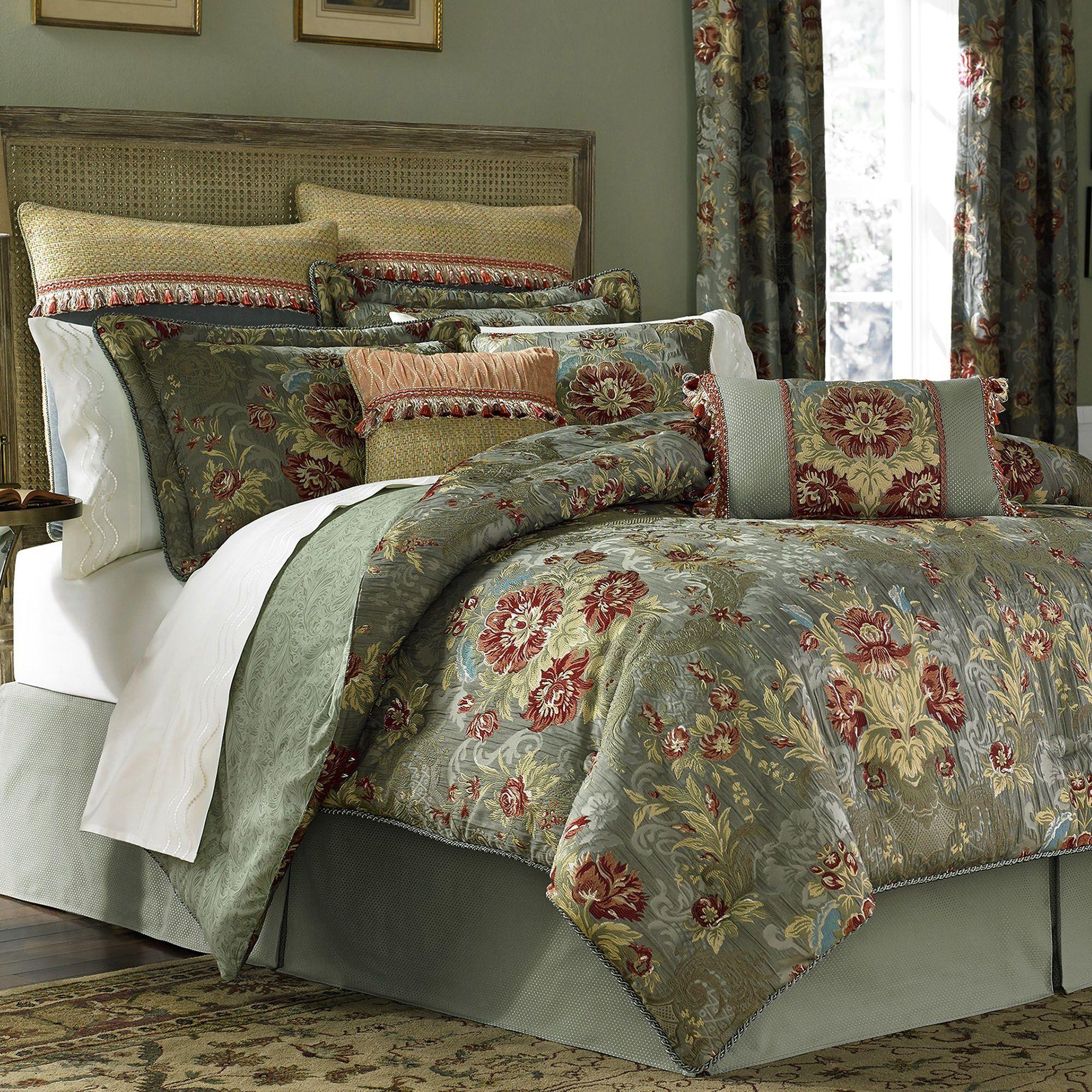 Adelia Sage Green Comforter Bedding By Croscill