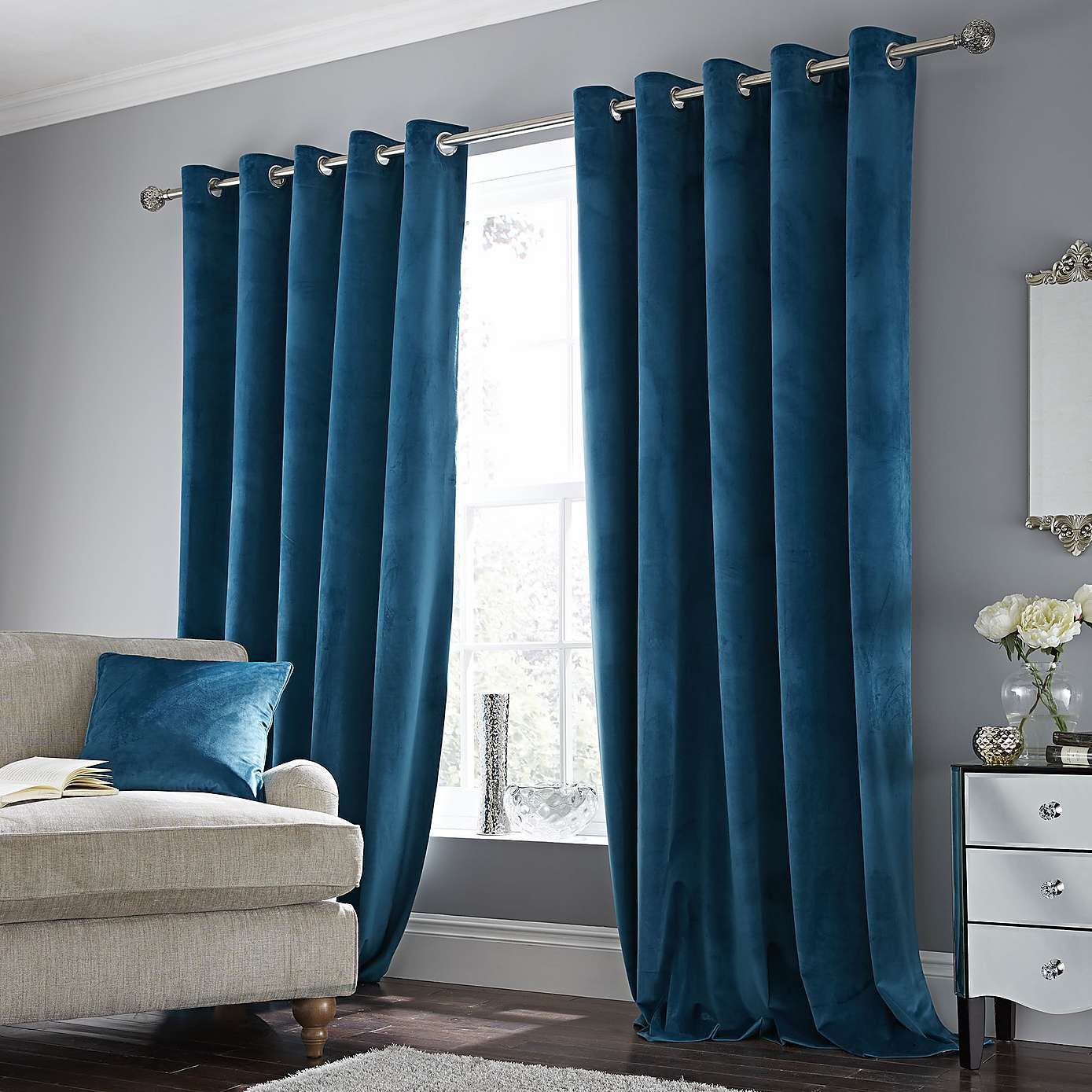 Ashford Teal Velour Eyelet Curtains Teal Living Rooms Teal