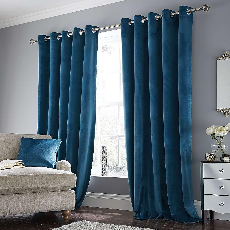Ashford Teal Velour Eyelet Curtains Teal Living Rooms Curtains Living Room Blue Curtains Living Room