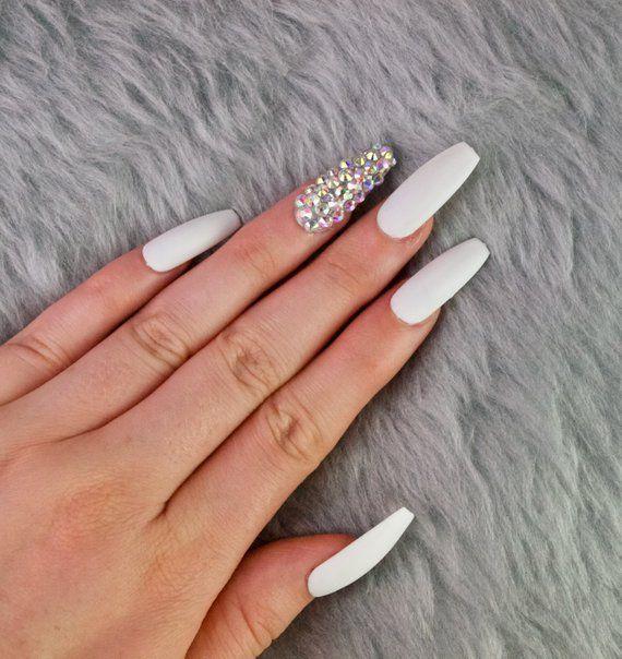 White Matte Long Coffin Press On Nails Press On Nails Etsy In 2020 Basic Nails Glue On Nails Coffin Press On Nails