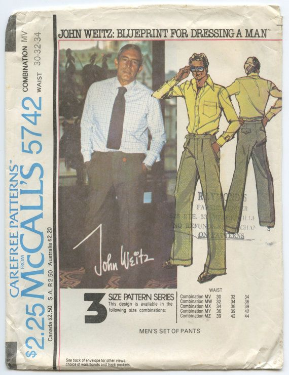 1970s McCall's 5742 John Weitz Men's Set of by GreyDogVintage, $12.00